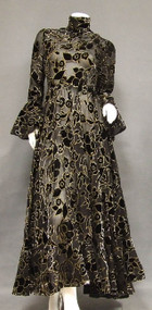 WONDERFUL Sheer Chiffon & Velvet 1960's Evening Gown w/ Gold