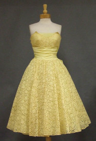 Buttery Yellow Lace Strapless 1950's Prom Dress & Bolero