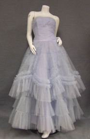 Voluminous Blue Tulle 1950's Prom Gown