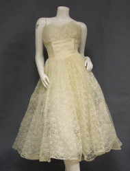 Lovely Ivory Lace Strapless 1950's Wedding Dress w/ Cropped Jacket