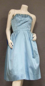 Jewelled Blue Satin 1960's Cocktail Dress w/ FABULOUS Back
