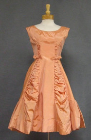 UNIQUE Canteloupe Taffeta 1950's Cocktail Dress w/ Gathered Insets