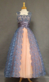 AMAZING Blue Lace & Pink Tulle 1950's Ball Gown