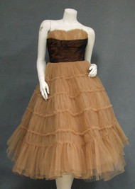 STUNNING Tan Tulle & Chocolate Taffeta 1950's Prom Dress
