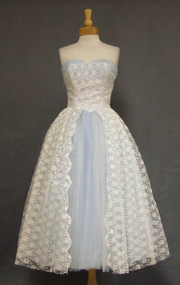 Charming White Lace & Blue Tulle 1950's Dress