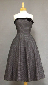 Flattering Strapless Black & White 1950's Dress w/ Velvet Trim