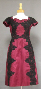 Bergdorf Goodman Mulberry Silk 1960's Cocktail Dress w/ Black Lace