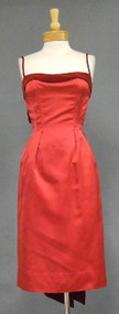 GORGEOUS Red Satin & Velveteen 1950's Wiggle Dress w/ Unique Jacket