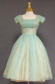 Charming Sea Green Chiffon 1960's Cocktail Dress w/ Flowing Back