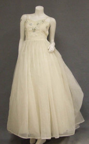 Lovely Ivory Chiffon Ball Gown w/ Floral Appliques & Braid