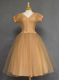 Emma Domb Pleated Tan Tulle 1950's Cocktail Dress