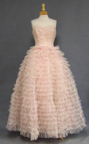 Super Pink & White Tulle 1950's Ball Gown