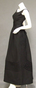 Black Satin Rappi Evening Gown w/ Velvet Bands
