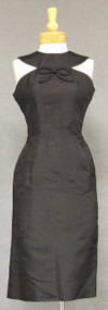 WONDERFUL Oleg Cassini Black Silk 1960's Cocktail Dress
