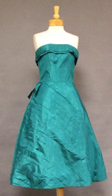 Fred Perlberg Emerald Taffeta 1950's Cocktail Dress w/ Diagonally Pleated Skirt
