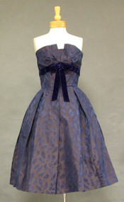 FABULOUS Iridescent Damask Strapless 1950's Cocktail Dress