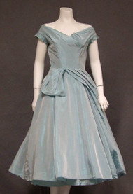Sea Mist Taffeta Harry Keiser 1950's Cocktail Dress