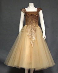 AMAZING Metallic Lace & Champagne Tulle 1950's Cocktail Dress