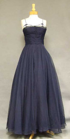 Sweeping Navy Marquisette 1940's Evening Gown
