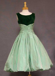 FAB Two Toned Green Velveteen & Taffeta Balloon Hemmed Cocktail Dress
