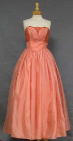 Sparkling Salmon Organdy Ball Gown w/ Lace & Rhinestones