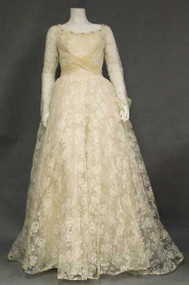 INCREDIBLE Ivory Lace 1950's Wedding Gown w/ Organdy Trim