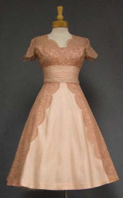 Beautiful Dusty Pink Lace & Organdy 1950's Cocktail Dress