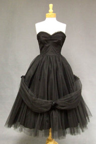 AMAZING Will Steinman Black Tulle Strapless 1950's Prom Dress