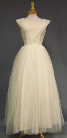 Elegant Cream Tulle Evening Gown w/ Ruffled Neckline