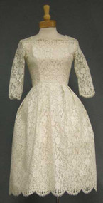 Short Ivory Lace 1960's Wedding Dress