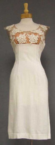 Gorgeous White Vintage Cocktail Dress w/ Appliqued Illusion Neckline