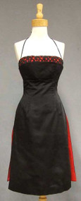 KNOCKOUT Black Satin 1950's Cocktail Dress w/ RED Trim
