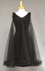 Flirty Black Crepe 1960's Cocktail Dress w/ Tulle Overlay