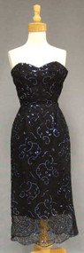 Harvey Berin Black Lace 1950's Cocktail Dress w/ Blue Sequins
