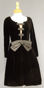 Oleg Cassini Chocolate Velvet 1960's Cocktail Dress w/ Illusion Bust