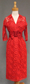 Cherry Red Lace 1950's Wiggle Dress w/ Satin Waist