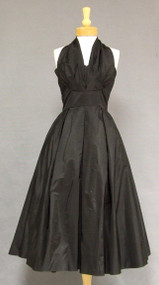Rustling Black Taffeta 1950's Halter Dress