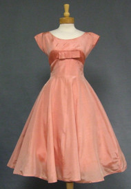 Salmon Organdy 1950's Cocktail Dress w/Fishgill Pleating