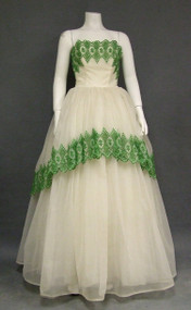 STRIKING Strapless Ivory Ball Gown w/ Green Embroidery