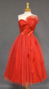 Red Tulle & Satin 1950's Prom Dress w/ Leaf Appliques