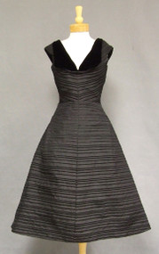 Striped Black Satin 1950's Cocktail Dress w/ Velvet Trim