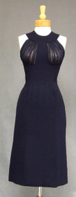 Oleg Cassini Navy Crepe & Chiffon 1960's Cocktail Dress CLASSIC