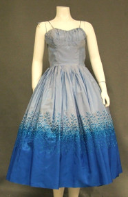 Two Toned Taffeta 1950's Cocktail Dress w/ Embroidery & Topper