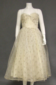 Strapless Ivory Tulle 1950's Prom Dress w/ Metallic Embroidery