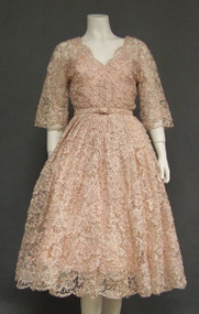 STUNNING Ribbon Lace 1950's Cocktail Dress w/ Shawl