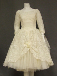 1960's  Wedding Dress w/ Tiered Tulle Back