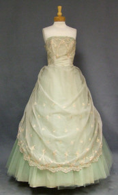 Embroidered Draped Chiffon & Tulle 1960's Ball Gown