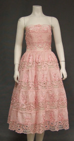 FABULOUS Pintucked Cotton, Lace & Soutache 1950's Party Dress w/ Shawl