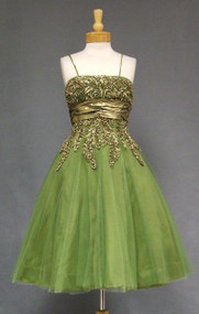 OUSTANDING Green Tulle 1950's Cocktail Dress w/ Gold Trim