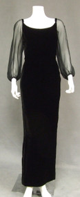 Elegant Mr. Blackwell Velvet Evening Gown w/ Sheer Balloon Sleeves